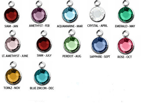 Custom 6mm Swarovski Birthstone Add-on Option - Channel Drop Charm - Silver-plated - Personalized - Birthday - Jewelry - Necklace - Bracelet-Add-On-Mod Jules