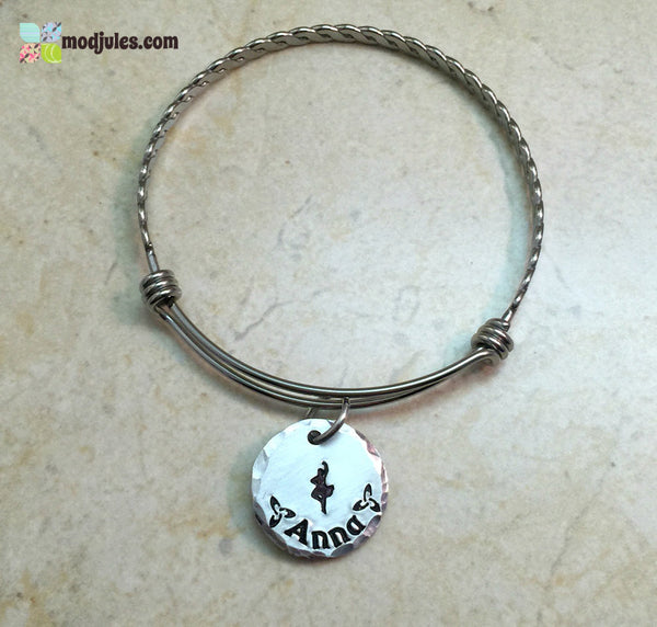Personalized Scottish Highland Dance Bangle Bracelet-Bracelet-Mod Jules