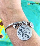 Brave Bangle Bracelet with Optional Awareness Ribbon Charm-Bracelet-Mod Jules