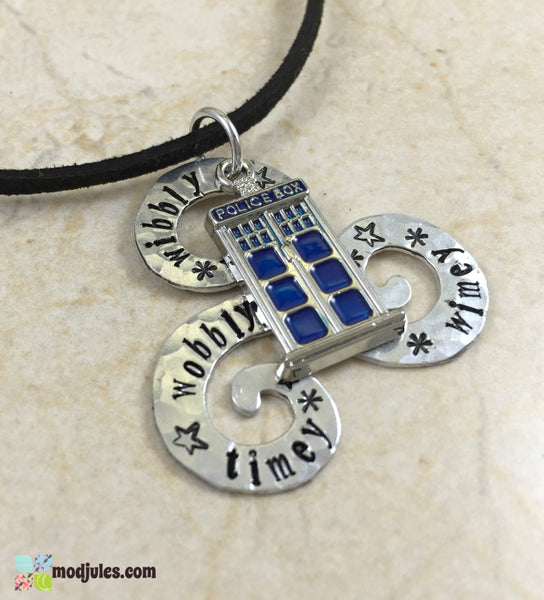 Wibbly Wobbly Timey Wimey Hand Stamped Dr Who Necklace with Tardis Charm-Jewelry-Mod Jules