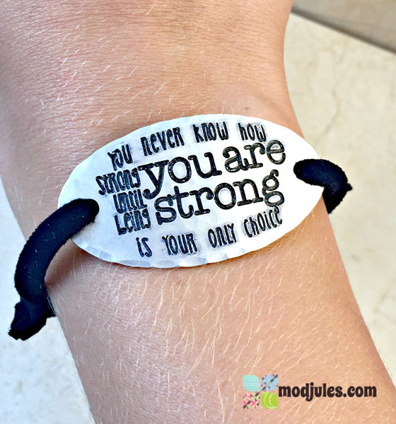 Bob Marley Engraved Quote You Never Know How Strong You Are Adjustable Leather Bracelet-Bracelet-Mod Jules