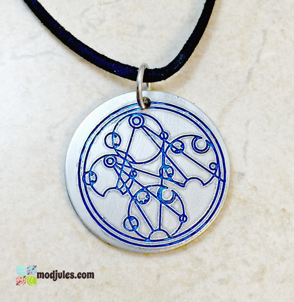 Dr Who Engraved Gallifreyan Necklace, Wibbly Wobbly Timey Wimey-Necklace-Mod Jules