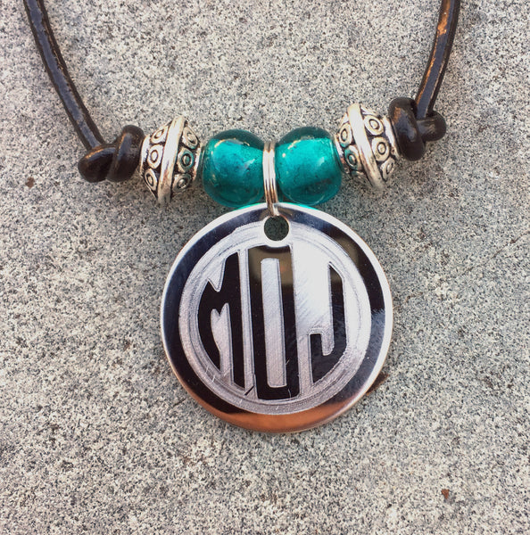 Engraved Monogram Leather Choker Necklace with Birthstone Beads-Necklace-Mod Jules