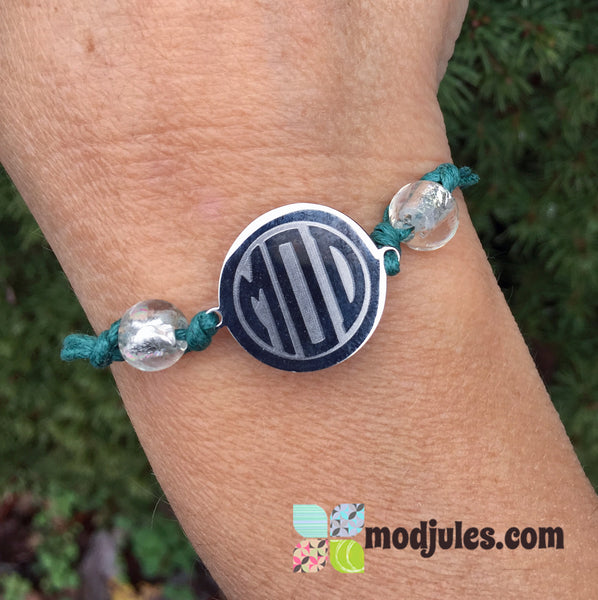 Engraved Monogram Wax Cotton Bracelet with Birthstone Beads-Bracelet-Mod Jules