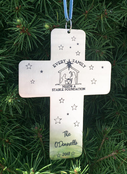Engraved Personalized Nativity Christmas Tree Ornament with Family Name-Ornament-Mod Jules