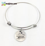 Personalized Bangle Bracelet or Necklace for Swimmers-Bracelet-Mod Jules
