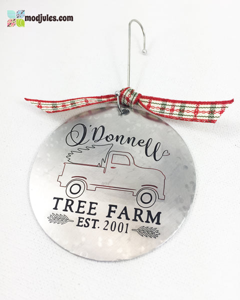"Engraved Personalized Family ""Tree Farm"" Christmas Tree Ornament Decoration-Ornament-Mod Jules"