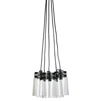 Agar 5 Light Clear Glass Vintage Pendant - The Lighting Lounge Australia