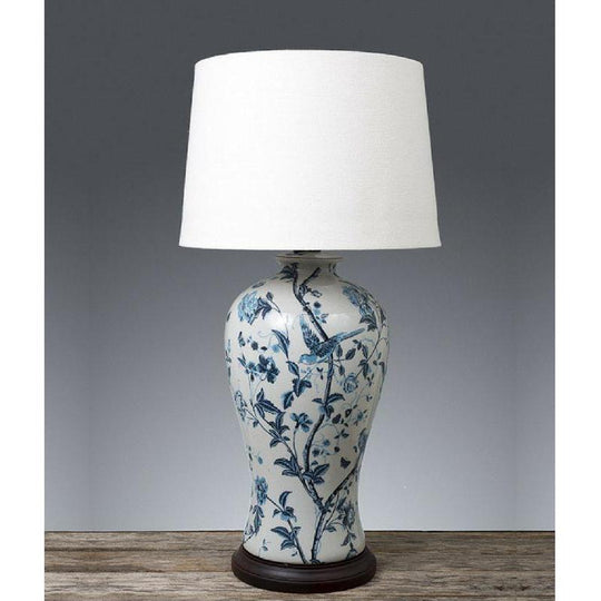 Ashleigh Lamp Base Blue and White - The Lighting Lounge Australia