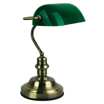 Bankers Touch Desk Lamp Antique Brass And Dark Green - The Lighting Lounge Australia