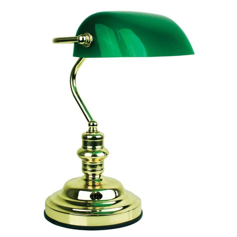 Bankers Touch Desk Lamp Brass And Dark Green - The Lighting Lounge Australia