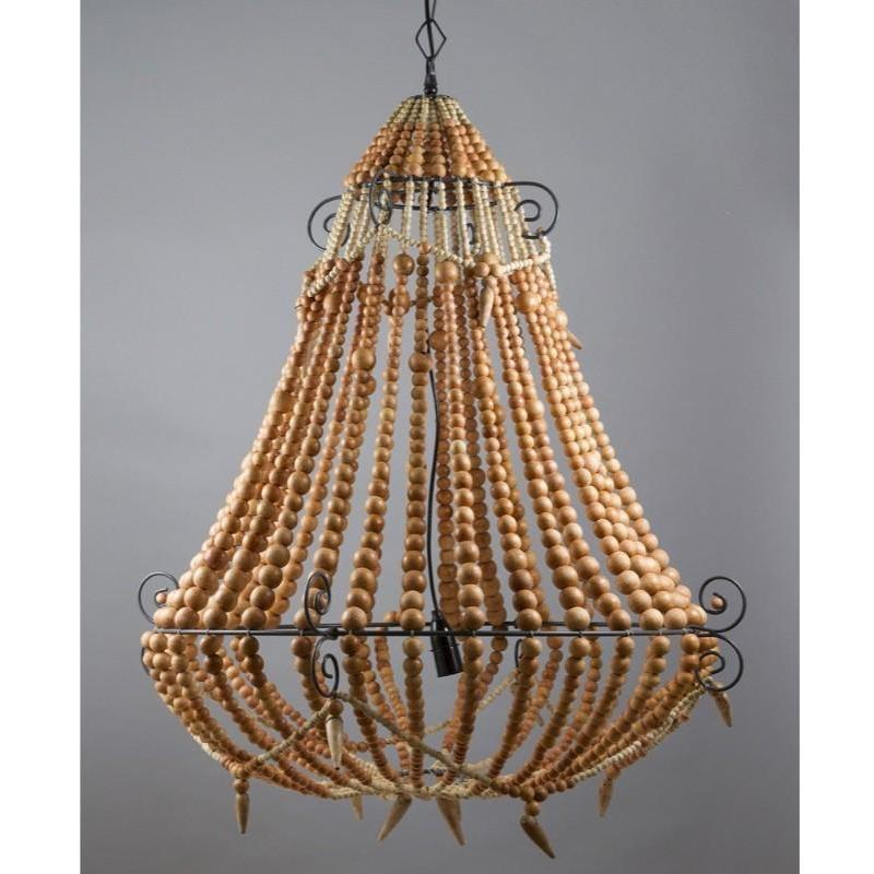 Beaded Chandelier Large Natural - The Lighting Lounge Australia