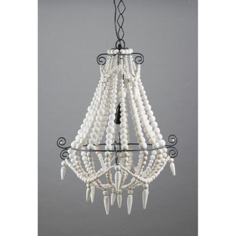 Beaded Chandelier Small White - The Lighting Lounge Australia