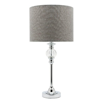 Beverly Chrome Table Lamp With Grey Shade - The Lighting Lounge Australia