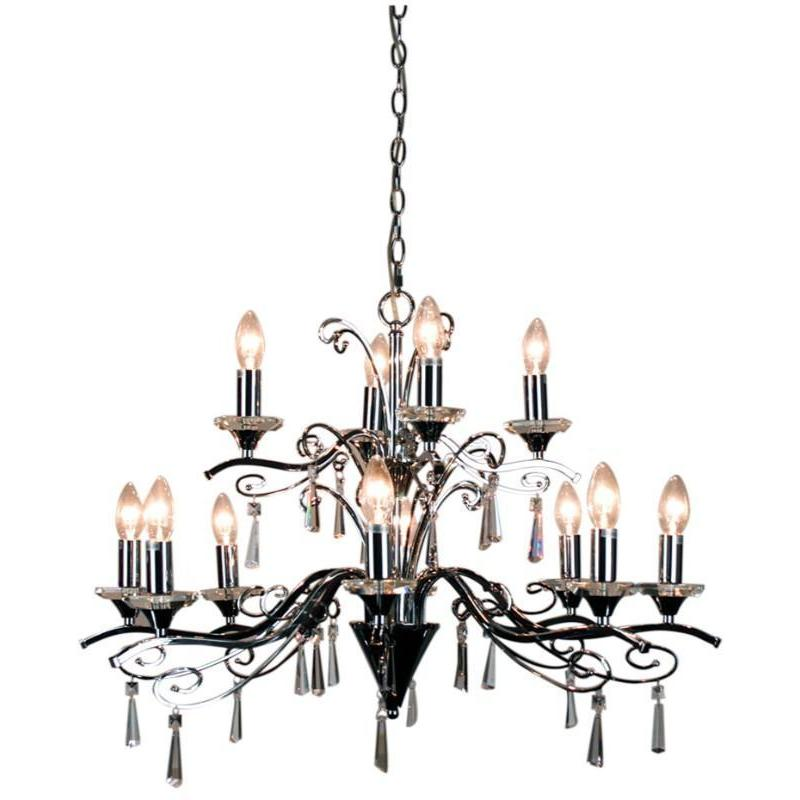 Diaz 12 Light Chrome And Crystal Pendant Chandelier - The Lighting Lounge Australia