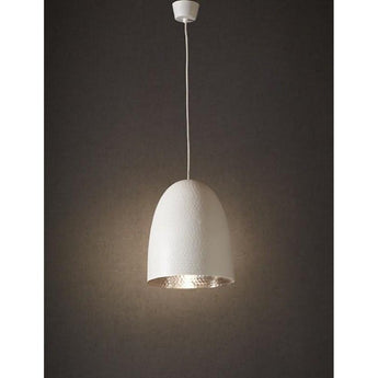 Dolce Beaten White Silver Pendant - The Lighting Lounge Australia
