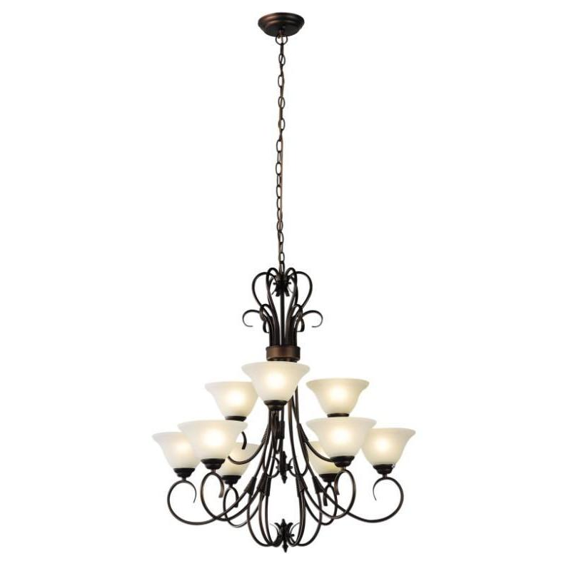 Gaston 9 Light Pendant Chandelier Bronze - The Lighting Lounge Australia