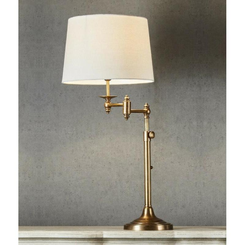 Macleay Swing Arm Adjustable Height Table Lamp Base Antique Brass