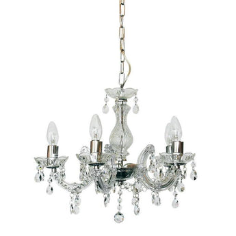 Marie Therese 5 Light Pendant Chandelier Clear And Chrome - The Lighting Lounge Australia