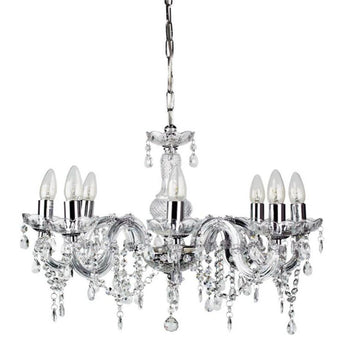 Marie Therese 8 Light Pendent Chandelier Clear And Chrome - The Lighting Lounge Australia