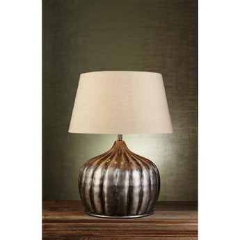 Pumpkin Table Lamp Base in Silver - The Lighting Lounge Australia