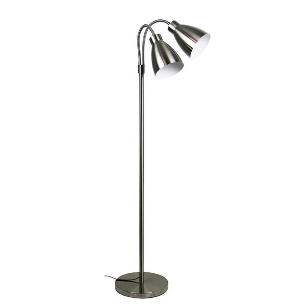 Retro Twin Floor Lamp Brushed Chrome - The Lighting Lounge Australia