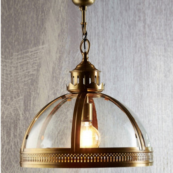 Winston Glass Pendant in Antique Brass