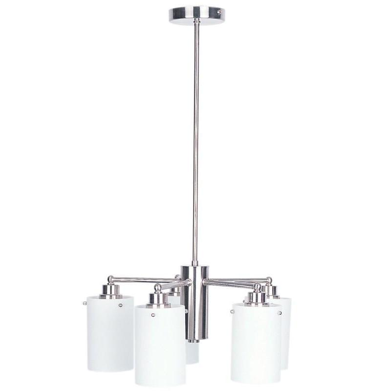 Zest 5 Light Pendant Brushed Chrome And Opal - The Lighting Lounge Australia