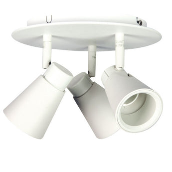 Zoom 3 Light Spotlight Mounted Plate White - The Lighting Lounge Australia