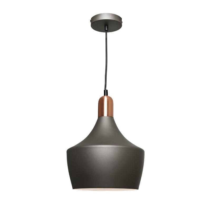 Bevo Metal Pendant Charcoal and Copper - The Lighting Lounge Australia