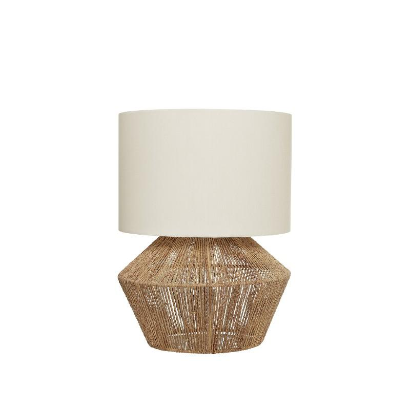 Cassie Natural Woven Table Lamp With Off-White Shade - The Lighting Lounge Australia