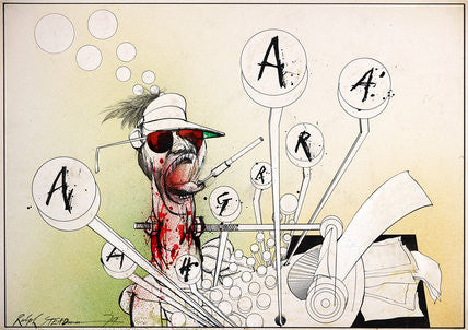 Ralph Steadman Signed Hunter S. Thompson AARGH Print