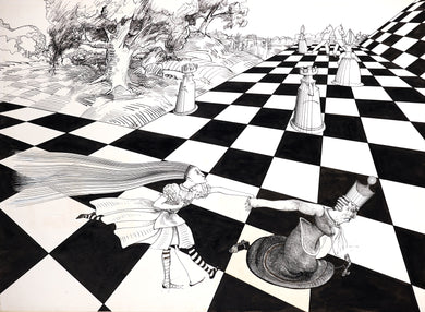 Ralph Steadman Signed Alice and Through The Looking Glass Print Chess Board
