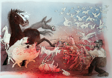 Ralph Steadman Signed Animal Farm Revolution Print