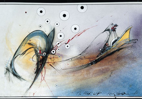 Ralph Steadman Signed The Hook Up From The Curse of Lono Print Featuring Hunter S. Thompson