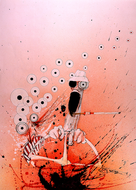 Ralph Steadman Signed Hunter S. Thompson Overdrive Elko Print Fear and Loathing in Las Vegas