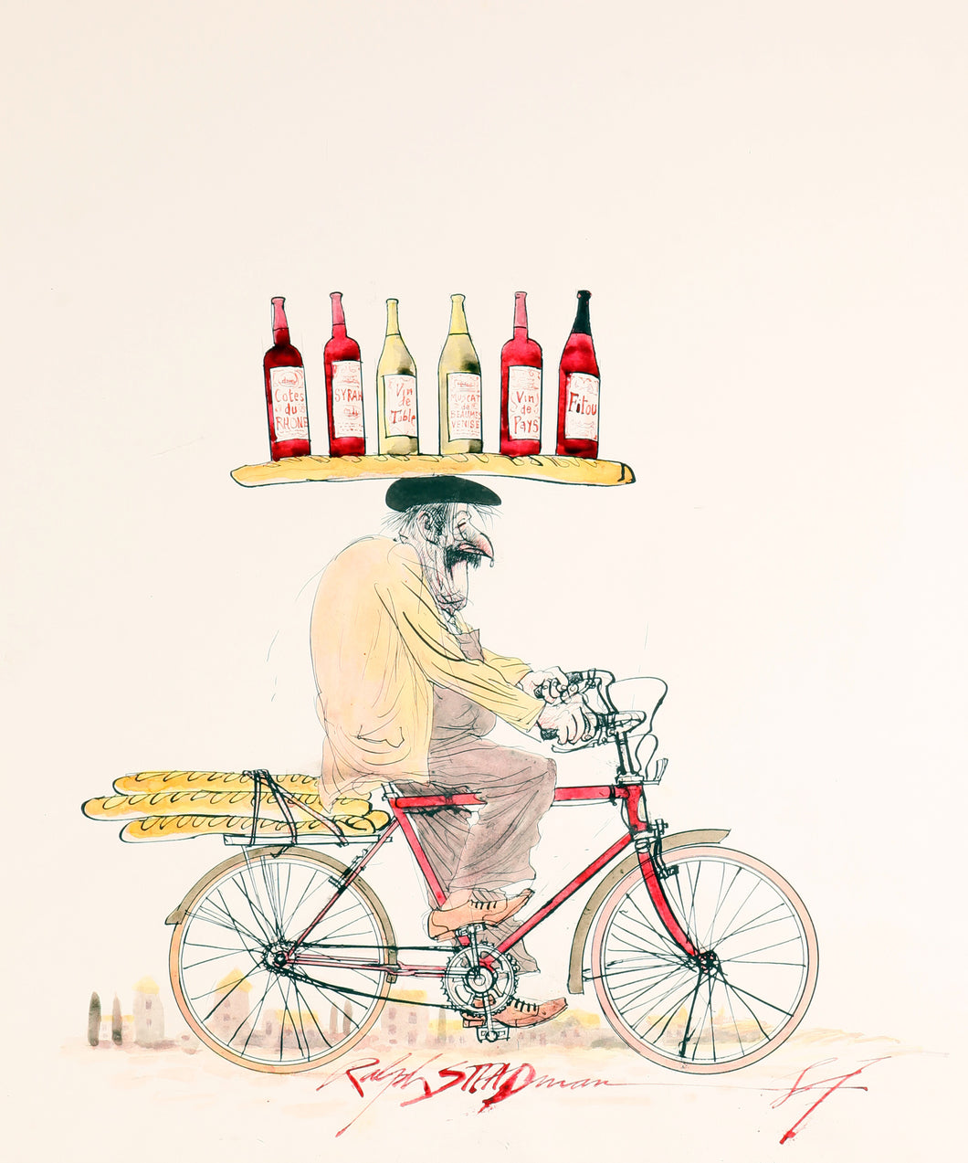 Ralph Steadman Signed Frenchman on a Bike Wine Print
