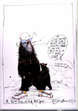 Ralph Steadman Signed Hunter S. Thompson in Bear Suit Print