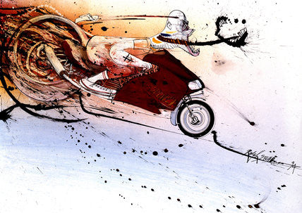Ralph Steadman Signed Hunter S. Thompson on Ducati Print