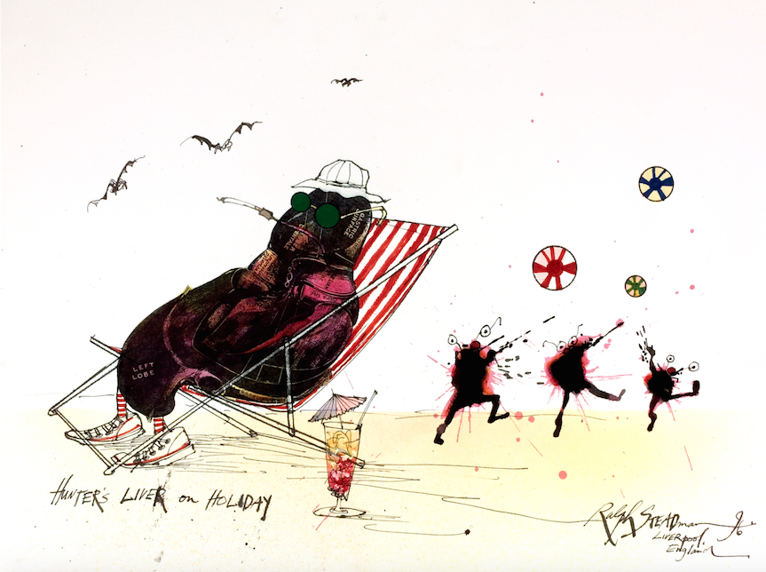 Ralph Steadman Signed Hunter S. Thompson Liver on Holiday Print
