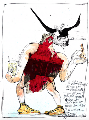 Ralph Steadman Signed Victim of His Own Legend Hunter S. Thompson Print