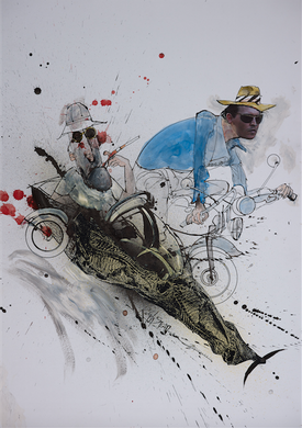 Signed Ralph Steadman's Hunter S. Thompson and Johnny Depp Print
