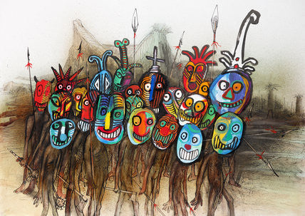 Ralph Steadman Signed Masks Print
