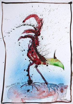Ralph Steadman Nextinction Green Beaked Red Spotto Signed Print