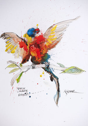 Ralph Steadman Nextinction Rainbow Lorikeet Signed Print