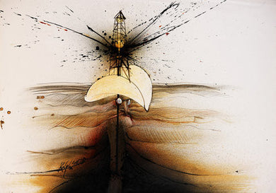 Ralph Steadman Oil Well Stetson Signed Art Print