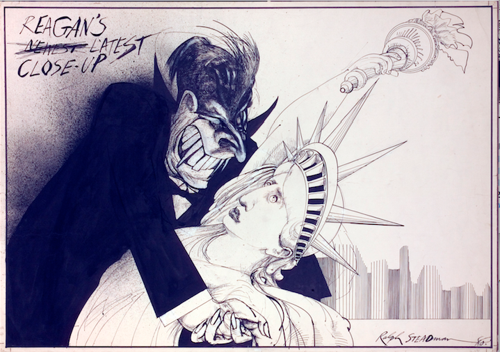 Ralph Steadman Signed Ronald Reagan's Lastest Close Up Print