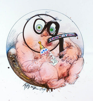 Ralph Steadman Small Child, Evian Cigar Signed Print
