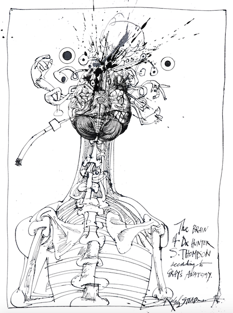Ralph Steadman Signed The Brain Of Hunter S. Thompson According to Grays Anatomy Print