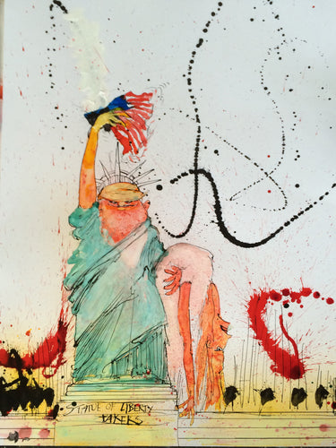Ralph Steadman Signed Donald Trump Statue of Liberty Takers Print